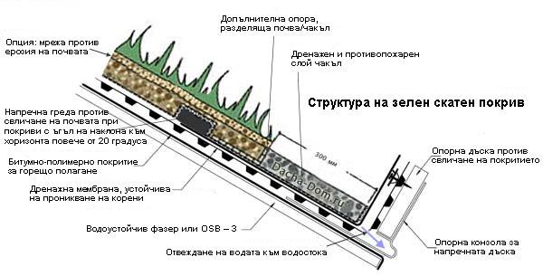 Структура на скатен зелен покрив